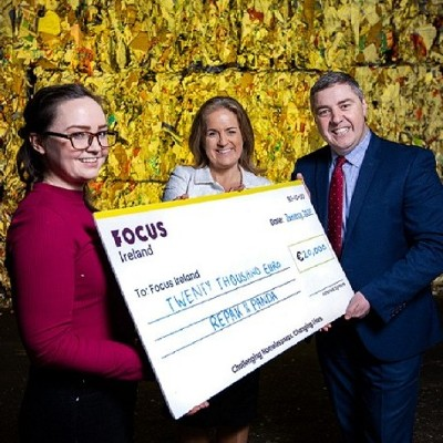 Repak and Panda raise €20,000 for Focus Ireland in Dublin city plastic recycling initiative