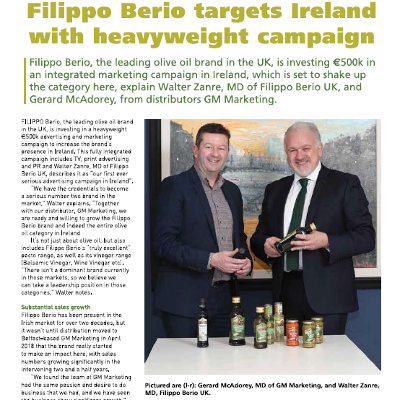 Filippo Berio targets Ireland with new heavyweight campaign