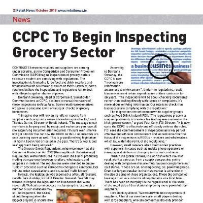 CCPC To Begin Inspecting Grocery Sector