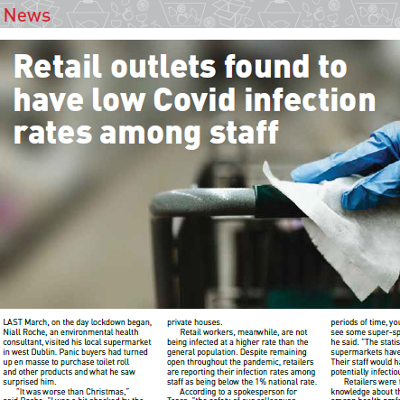 Retail outlets found to have low Covid-19 infection rates among staff