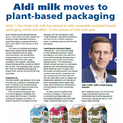 Aldi Milk Moves to Plant-Based Packaging
