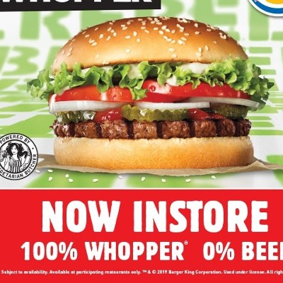 The Rebel Whopper®  Plant-based Patty Powered by The Vegetarian Butcher  100% Whopper®, 0% Beef