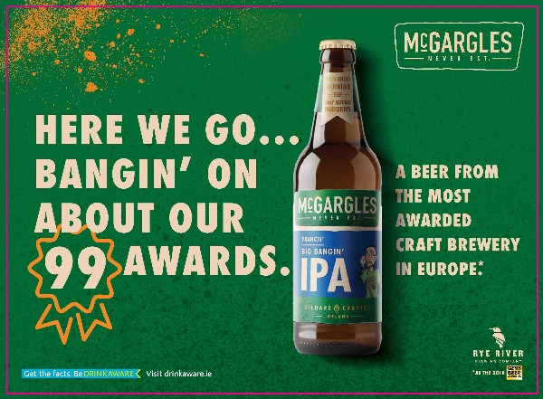 """Rye River Brewing Company becomes the first independent Irish Craft Beer Company to launch out of home advertising campaign  Campaign celebrates """"Europe's most decorated brewery"""" with a total of 99 awards"""